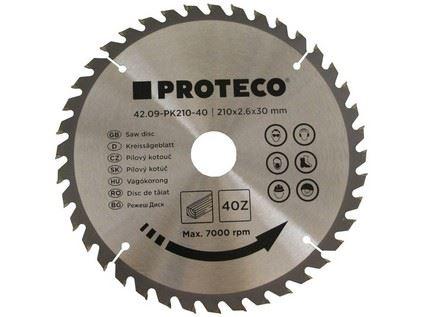 Pilový kotouč Proteco 42.09-PK210-40, SK plátky, 210 x 2.6 x 30/20mm 40z