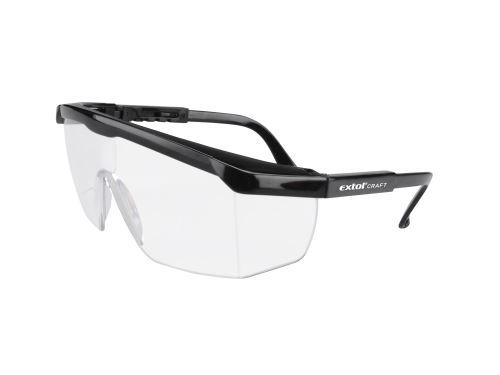 Brýle ochranné čiré Extol, univerzální velikost, zorník třídy F s ochranou proti oděru