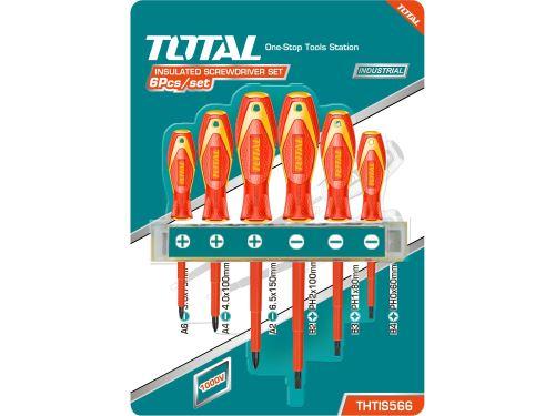 Sada 6ks šroubováků TOTAL THTIS566, 1000V, VDE, industrial, (-) 3ks, PH 3ks, CrV