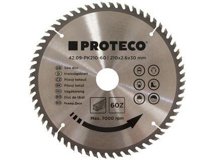 Pilový kotouč Proteco 42.09-PK210-60, SK plátky, 210 x 2.6 x 30/20mm 60z