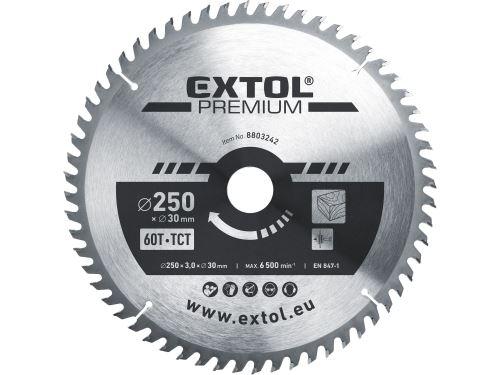 Kotouč pilový s SK plátky Extol 8803242, 250x2,2x30mm, 60T, šířka SK plátků 3,2mm