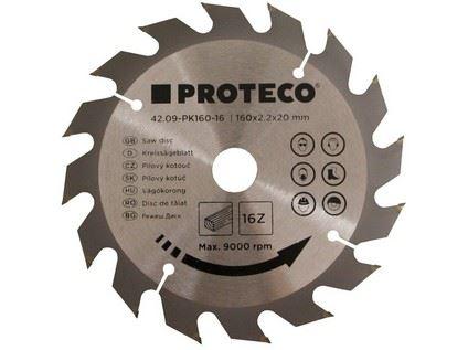 Pilový kotouč Proteco 42.09-PK160-16, SK plátky, 160 x 2.2 x 20mm 16z
