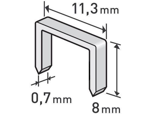 Spony Extol 8852502, balení 1000ks, 8mm, 11,3x0,52x0,70mm